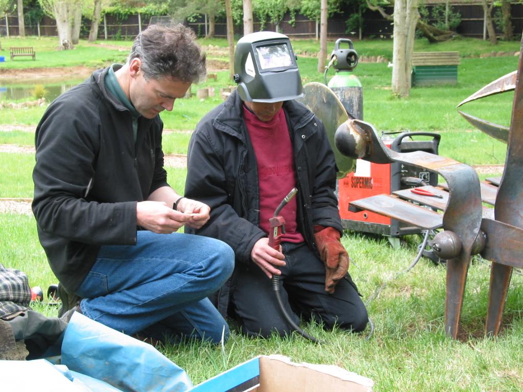 Joe and D prep for welding